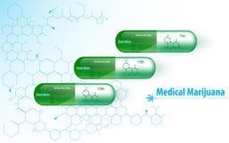 与大麻化工分子结构纹理的医疗大麻胶囊设计 免版税库存图片