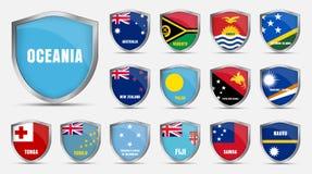 与大洋洲的国家的旗子的板料 库存图片