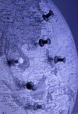与大头钉(亚洲地区)的地球 图库摄影