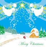 与天使和圣诞老人的冬天风景 免版税库存照片