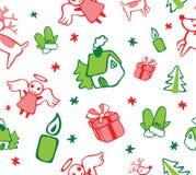 与天使和礼物的圣诞节样式 库存例证