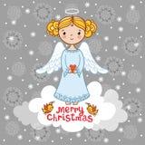 与天使的圣诞卡 库存图片