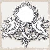 与天使的葡萄酒花卉框架 库存图片