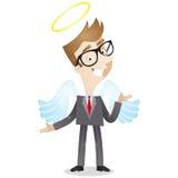 与天使翼和光晕的商人 库存例证