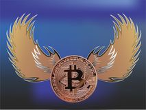 与天使翼的Bitcoin 免版税库存照片