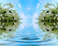 与天堂般的湖的美丽的茉莉花 向量例证