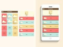 与天气应用的流动用户界面 免版税库存图片