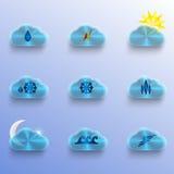 与天气标志的蓝色云彩 库存图片