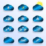 与天气标志的蓝色云彩 图库摄影