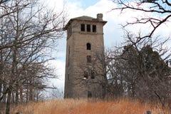 与天空和一个冬天树的老石手表塔 免版税图库摄影