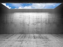 与天空的抽象混凝土3d内部在轻的门户 库存图片