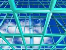 与天空的绿松石栅格 库存例证