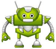 与天线的绿色机器人动画片 免版税库存图片