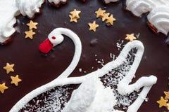 与天鹅的图象的奶油色蛋糕 详细资料 免版税库存照片