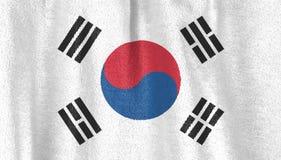 与天鹅绒织品纹理的韩国旗子 标志南的韩国 免版税库存图片