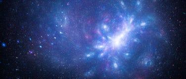 与太空星群的反常现象的蓝色发光的跨星starfield 向量例证