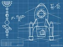 与太空飞船和行星的图纸 免版税库存照片