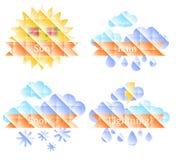 与太阳、云彩、彩虹和雨的背景 免版税库存图片