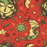 与太阳、月亮和星的部族无缝的样式 皇族释放例证