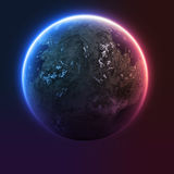 与太阳上升的行星地球 免版税库存照片