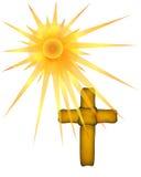 与太阳光芒的布朗十字架 图库摄影