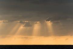 与太阳光芒的日出cloudscape 免版税库存照片