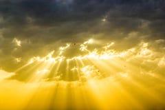 与太阳光芒的神的日落 免版税库存图片