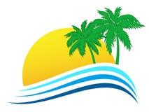 与太阳和棕榈的旅行商标 向量例证