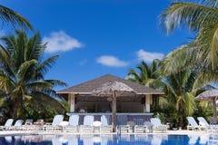 与太阳懒人和一个酒吧的游泳池视图在古巴 免版税库存图片