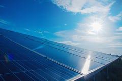 与太阳电池板的绿色能量在可更新的能源厂 免版税库存照片