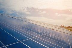 与太阳电池板的绿色能量在可更新的能源厂 免版税图库摄影