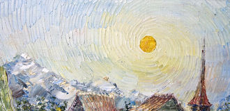 与太阳的艺术帆布在旋涡天空在中世纪山镇 免版税库存图片
