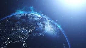 与太阳的行星地球在宇宙,地球和星系 免版税库存图片