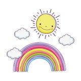 与太阳的逗人喜爱的童话彩虹 库存例证
