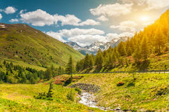 与太阳记下的五颜六色的高山风景 免版税库存图片