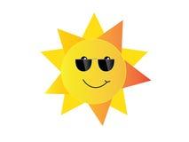 与太阳镜动画片传染媒介孤立的微笑太阳 库存例证