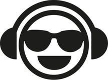 与太阳镜的DJ面带笑容 向量例证