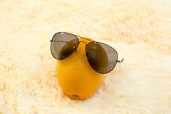 与太阳防护玻璃的葡萄柚在轻的背景 免版税库存照片