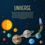 与太阳系、星和空间的宇宙横幅 向量例证