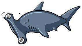 与头昏眼花的面孔的双髻鲨 库存例证