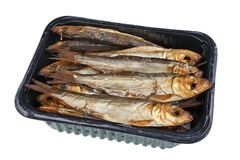 与头的热的整个熏制的毛鳞鱼长凳竹刀鱼西鲱波罗的海在塑料盒-传统立陶宛啤酒快餐的鱼和胆量 免版税库存图片