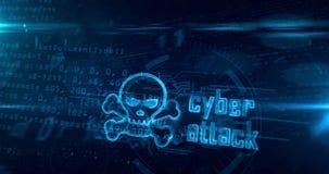 与头骨的网络攻击全息图隧道loopable概念 库存例证