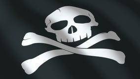 与头骨的黑旗 无缝的圈 向量例证