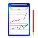 与夹子的文件夹有与箭头红色黑色的图表的和颜色书写 免版税库存图片