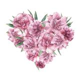 与夹竹桃花的水彩花卉心脏 与在白色背景和花的手画花束隔绝的叶子 向量例证