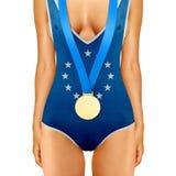 与奖牌的欧洲身体 库存图片