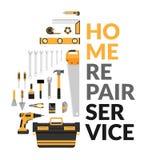与套的家庭修理公司模板DIY回家修理工具 家庭修理公司咨询,整修&建筑 皇族释放例证