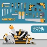 与套的家庭修理公司模板DIY回家修理工具 家庭修理公司咨询,整修&建筑 库存例证