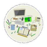 与套的文具邮票办公室辅助部件 免版税库存图片