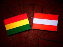 与奥地利旗子的玻利维亚的旗子在树桩 库存照片